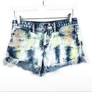 FREE PEOPLE | Acid Wash Cutoff Denim Shorts
